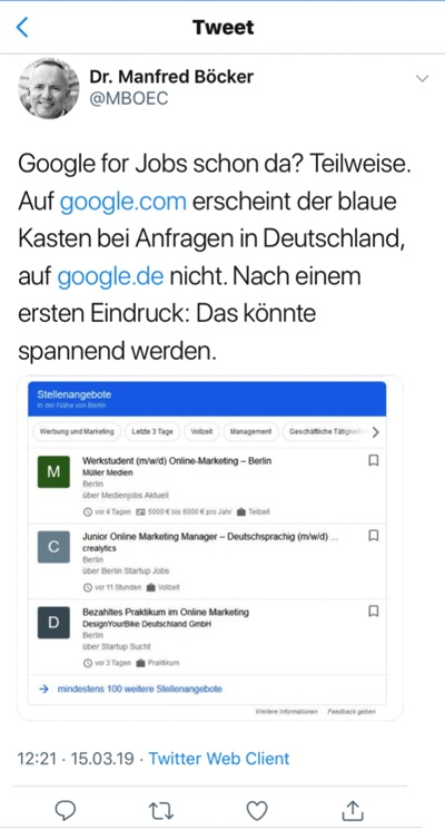 google jobs test in deutschland twitter